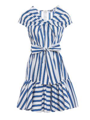 M.S.G.M.: knee length dresses - Belt detailed cotton dress
