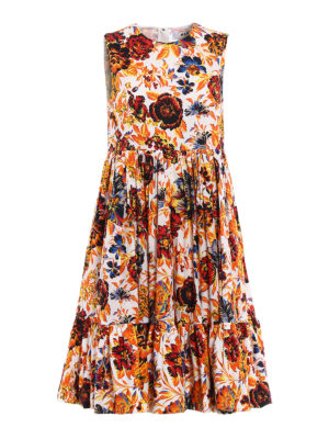 M.S.G.M.: knee length dresses - Circle skirt detailed floral dress