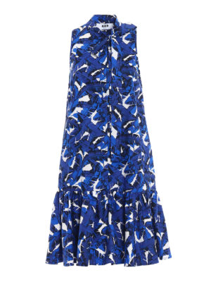 M.S.G.M.: knee length dresses - Cotton leaf print dress
