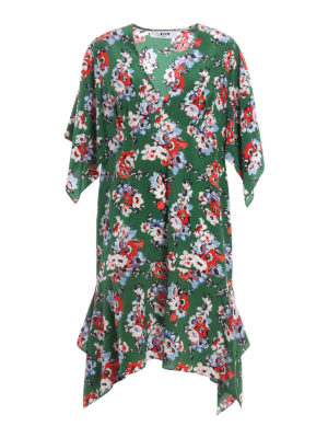 M.S.G.M.: knee length dresses - Floral print silk dress
