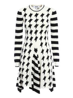 M.S.G.M.: knee length dresses - Geometric pattern wool skirt