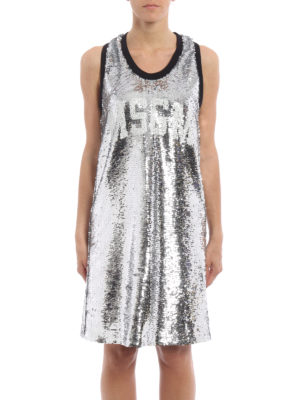M.S.G.M.: knee length dresses online - Sequinned tank dress