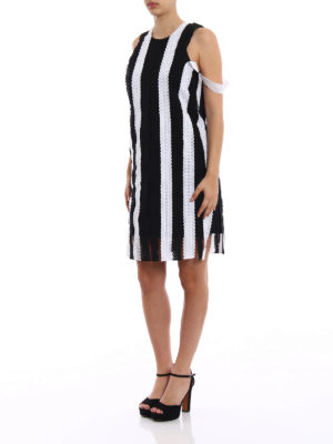M.S.G.M.: knee length dresses online - Striped broderie anglaise dress