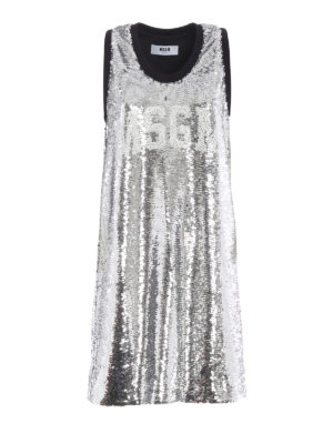 M.S.G.M.: knee length dresses - Sequinned tank dress