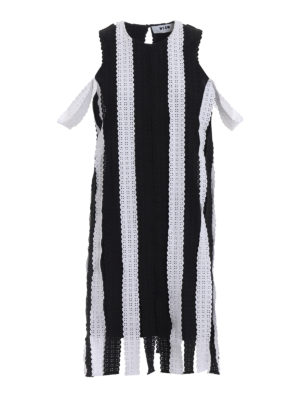 M.S.G.M.: knee length dresses - Striped broderie anglaise dress