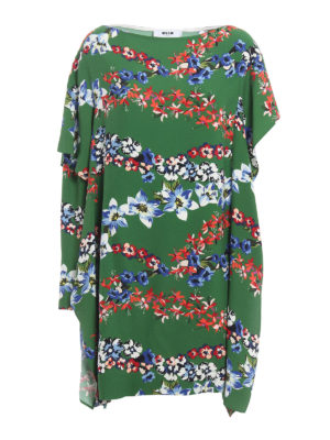 M.S.G.M.: knee length dresses - Viscose floral ruffled dress