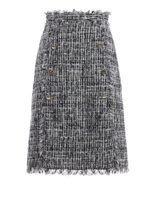 M.S.G.M.: Knee length skirts & Midi - Boucle tweed flared skirt