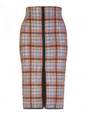 M.S.G.M.: Knee length skirts & Midi - Check wool blend skirt