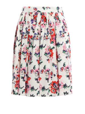 M.S.G.M.: Knee length skirts & Midi - Floral print cotton skirt