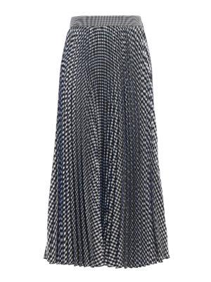 M.S.G.M.: Knee length skirts & Midi - Gingham print pleated midi skirt