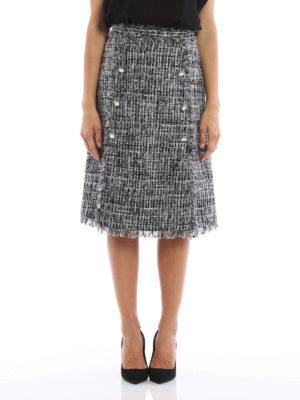 M.S.G.M.: Knee length skirts & Midi online - Boucle tweed flared skirt