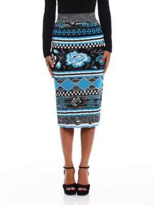 M.S.G.M.: Knee length skirts & Midi online - Patterned knit wool pencil skirt