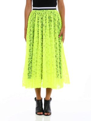 M.S.G.M.: Knee length skirts & Midi online - See-through fluo lace maxi skirt