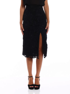 M.S.G.M.: Knee length skirts & Midi online - Vented lace front pencil skirt