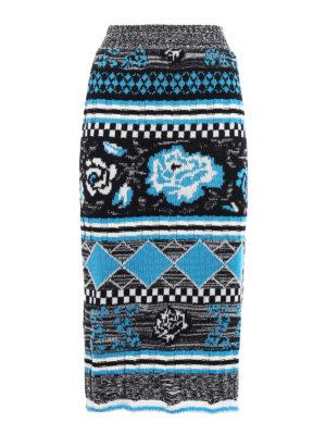 M.S.G.M.: Knee length skirts & Midi - Patterned knit wool pencil skirt