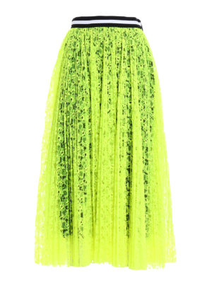 M.S.G.M.: Knee length skirts & Midi - See-through fluo lace maxi skirt
