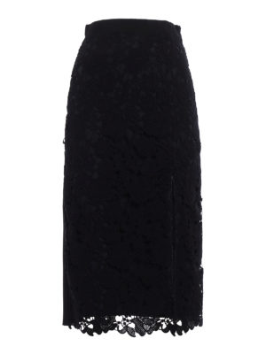 M.S.G.M.: Knee length skirts & Midi - Vented lace front pencil skirt