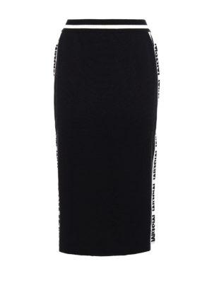 M.S.G.M.: Knee length skirts & Midi - Wool blend jersey pencil skirt