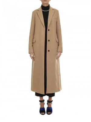 M.S.G.M.: long coats online - Self-belt wool blend coat