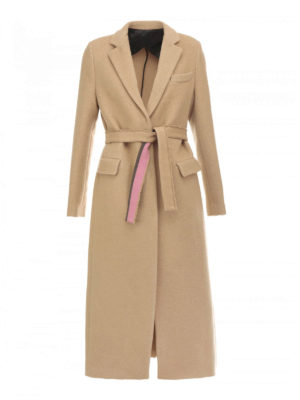 M.S.G.M.: long coats - Self-belt wool blend coat