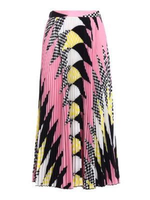 M.S.G.M.: Long skirts - Geometric pattern pleated skirt