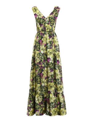 M.S.G.M.: maxi dresses - Floral silk twill maxi dress