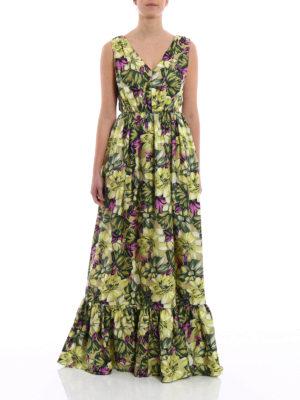M.S.G.M.: maxi dresses online - Floral silk twill maxi dress