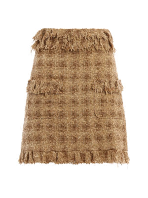 M.S.G.M.: mini skirts - Boucle tweed flared skirt