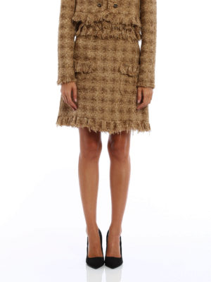 M.S.G.M.: mini skirts online - Boucle tweed flared skirt