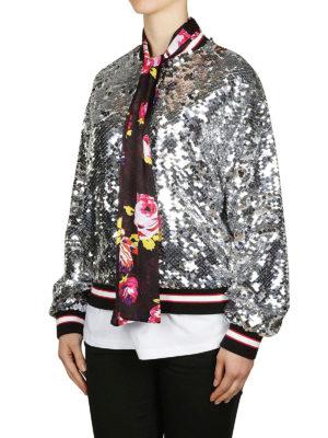 m.s.g.m.: giacche bomber online - Bomber di paillettes con sciarpina floreale