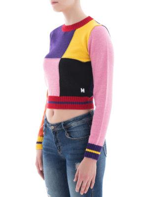 m.s.g.m.: maglia collo rotondo online - Girocollo crop in misto lana colour-block