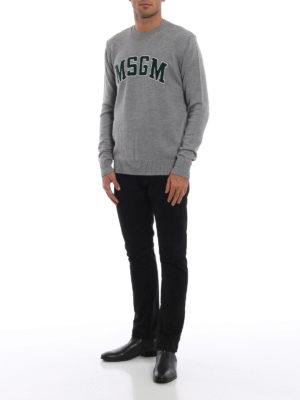m.s.g.m.: maglia collo rotondo online - Pull in misto lana jacquard stile college
