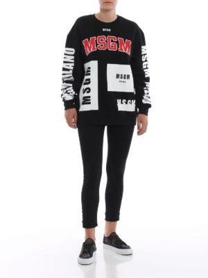 m.s.g.m.: Felpe e maglie online - Felpa over nera con stampe logo