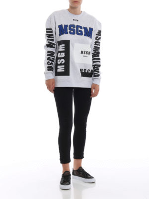 m.s.g.m.: Felpe e maglie online - Felpa over grigio mélange con stampe logo