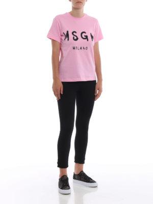 m.s.g.m.: t-shirt online - T-shirt rosa con logo pennellato