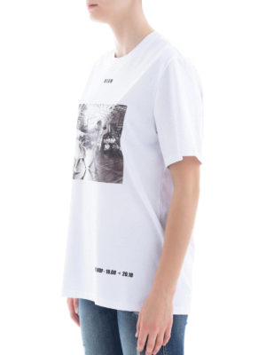 m.s.g.m.: t-shirt online - T-shirt over bianca con stampa Sock Hop