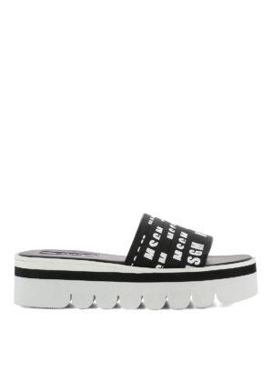 M.S.G.M.: sandals - Logo grosgrain bands sandals