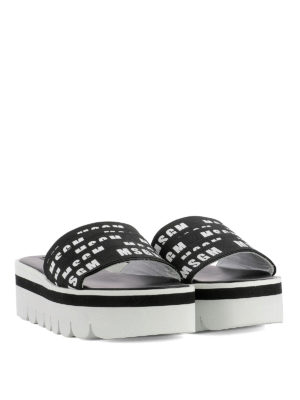 M.S.G.M.: sandals online - Logo grosgrain bands sandals