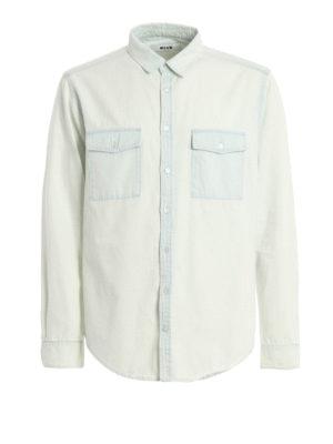 M.S.G.M.: shirts - Back logo detailed denim shirt