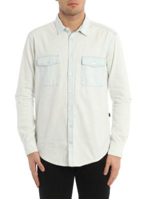 M.S.G.M.: shirts online - Back logo detailed denim shirt