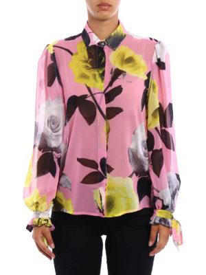 M.S.G.M.: shirts online - Roses print chiffon shirt