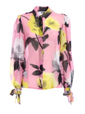 M.S.G.M.: shirts - Roses print chiffon shirt
