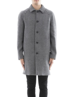 M.S.G.M.: short coats online - Houndstooth print wool blend coat