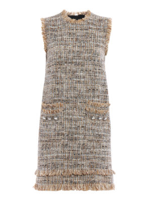 M.S.G.M.: short dresses - Boucle tweed sleeveless dress