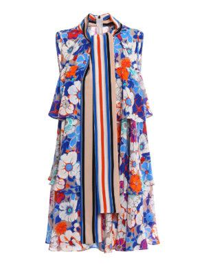 M.S.G.M.: short dresses - Crêpe de chine floral dress