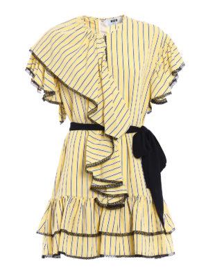 M.S.G.M.: short dresses - Frilled striped dress with belt