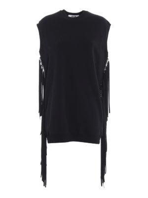 m.s.g.m.: abiti corti - Mini abito in felpa con frange