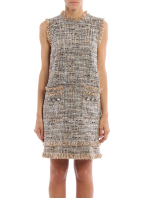 M.S.G.M.: short dresses online - Boucle tweed sleeveless dress