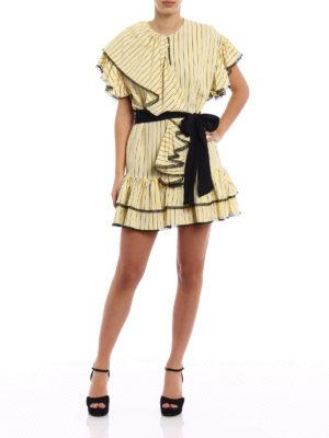 M.S.G.M.: short dresses online - Frilled striped dress with belt