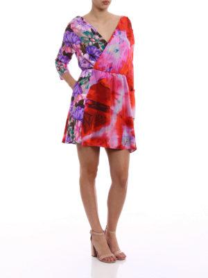 M.S.G.M.: short dresses online - Printed silk asymmetrical dress